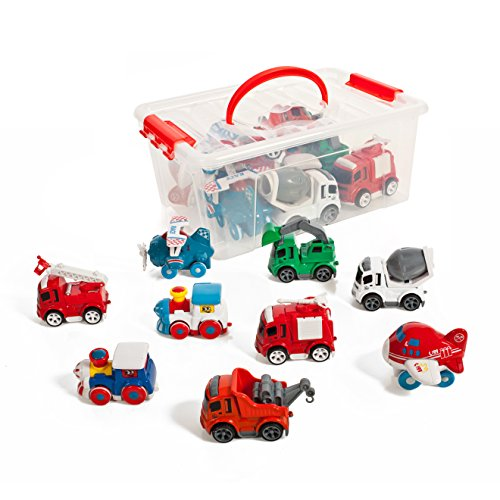 Set-of-9-Friction-powered-Train-Air-Construction-Fire-Die-cast-vehicles-in-a-storage-container