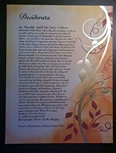 On Golden Leaves II - Desiderata Poem Art Print 8 x 10 or 8.5 x 11