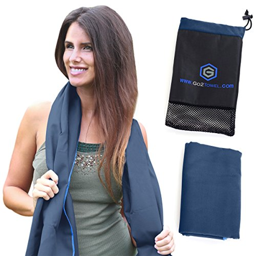Microfiber Sports & Beach Towel | Size XL [Navy Blue] | Best for Travel, Gym, Fitness, Camping, Yoga | Antibacterial, Quick Dry, Super Absorbent | Light Pack | Includes FREE Bag | Get Toweled NOW!