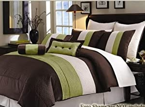8 PC. MODERN SUPER COMFORTER SET WITH MATCHING PILLOWS, GREEN / CHOCOLATE, KING
