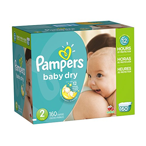 Pampers Baby Dry Diapers Giant Pack, Size 2, 160 Count