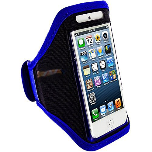 Mylife (Tm) Royal Blue + Black Velcro Strap (Light Weight Flexible Neoprene + Secure Running Armband) For Apple Iphone 5C, 5S And 5 (5G) 5Th Generation Itouch Phone (Universal One Size Fits All + Velcro Secured + Adjustable Length + Pu Leather Trim + Seal