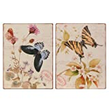 Wilco Imports Set of Two Butterfly Jeweled Metal Wall Art, 10-1/4-Inch by 13-3/4-Inch High