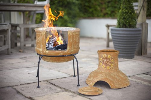 Clay sun design chiminea with bbq grill patio heater 85cm - Chimeneas de barro ...