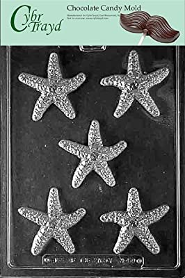 Cybrtrayd N059 Starfish Chocolate Candy Mold with Exclusive Cybrtrayd Copyrighted Chocolate Molding Instructions