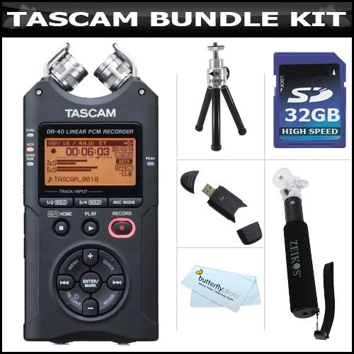 Tascam Dr-40 4-Track Portable Digital Recorder + 32Gb High Speed Sd Card + Extendable Handheld Monpod/Pocket Size Travel Tripod + Mini Tripod + Usb 2.0 Sd Card Reader + More