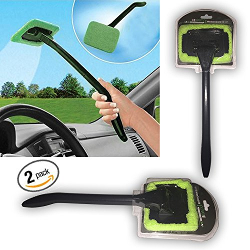 2 pack auto glass cleaner windshield clean car glass cleaner wiper handle wand microfiber cloth