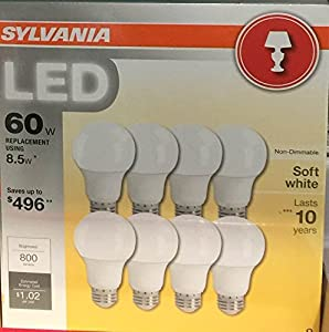 Sylvania 0046185 8.5-Watt (60W Equivalent) A19 Medium Base Non-Dimmable LED Light, Soft White, 8-Pack