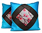 2pcs Blue Silk Pillow Covers Indian Modern Luxury Sofa Cushion Covers