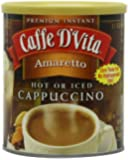 Caffe D'Vita Amaretto Instant Cappuccino, 16-Ounce Canisters (Pack of 6)