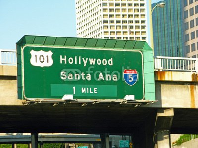 "Wallmonkeys Peel and Stick Wall Decals - Road Signs in Los Angeles for Hollywood, Santa Ana-3- 07-09-34 - 24""W x 18""H Removable Graphic"