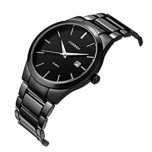 PASOY Men's Sports Military Quality Black Stainless Steel storp waterproof Quartz Wrist Watch