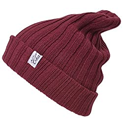 Casualbox Mens Snug Cozy Feel Warm Winter Knit Beanie Ribbed structure Red