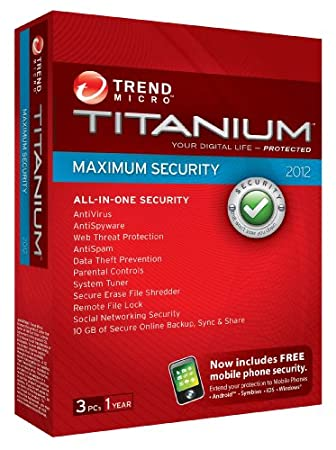 Trend Micro Titanium Maximum Security 2012, 3 User, 1 Year Subscription (PC)
