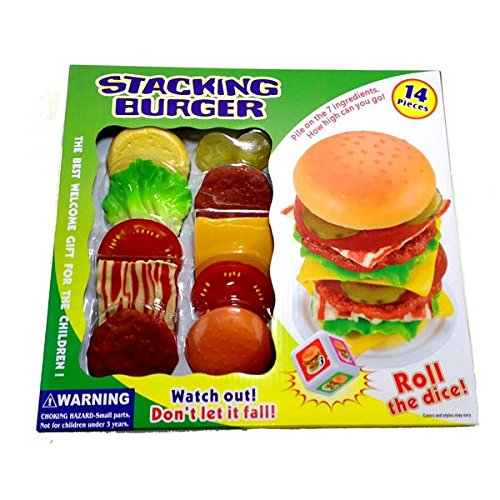 14 Pcs Stacking Burger Game with Bacon Pickles Patties Cheese - 1