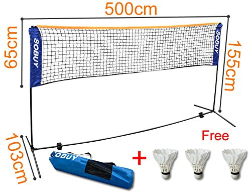 SoBuy Height Adjustable Tennis Nets, Badminton Net,with stand / frame,includes Fastening Devices, SFN03,Lengthen:500 cm(196.8inch)