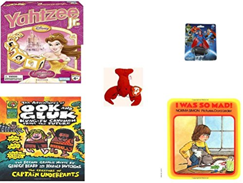 Children's Gift Bundle - Ages 3-5 [5 Piece] - Disney Princess Yahtzee Jr. Game - Superman Figurine Toy - Ty Teenie Beanie Babies - Pinchers the Lobster - The Adventures of Ook and Gluk Hardcover (Mad Teenies)
