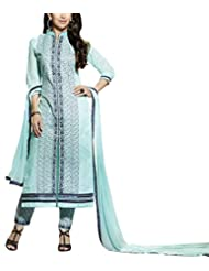 Shanvi Women's Faux Cotton Unstiched Party Wear Middle Slit Pant Style Suit, Sky Blue Colour