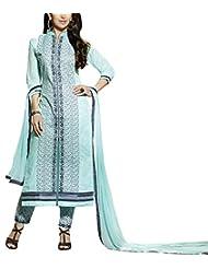 Shanvi Women's Faux Cotton Unstiched Party Wear Middle Slit Pant Style Suit, Sky Blue Colour