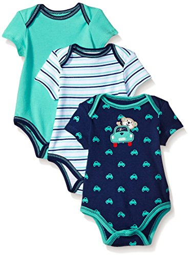 Best Beginnings Baby Car 3 Pack Bodysuit, Navy, 6 Months