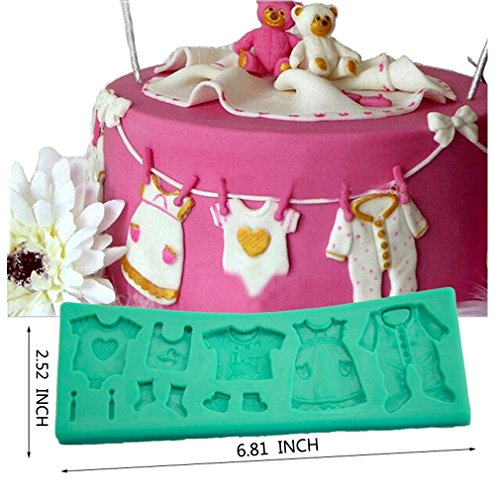 TANGCHU Fondant Cake Lace Mold Baby Clothes Washing Line Silicone Molds Cake Decorating 6.81*2.52*0.31inch Green
