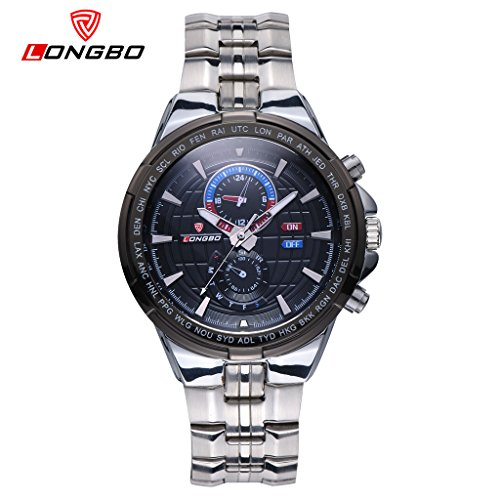 LONGBO Mens Unique Stainless Steel Band Sport Millitary Watches Decorative Chrono Eyes Dial Analog Quartz Watch Luminous Waterproof Bussiness Wristwatch For Man (Red Line Orange Dial Watch compare prices)
