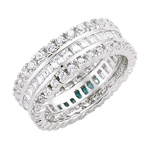 Jewelco London Silver - Rhodium Plated - Cubic Zirconia Full Eternity Ring
