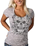 Hot Leathers Victorian Skull Ladies Burnout Tee (Silver, Large)