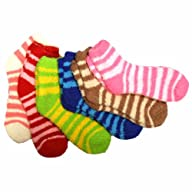 Luxury Divas Thin Striped Assorted Multi-colored 6 Pack Fuzzy Socks