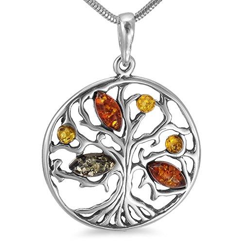 Ambra ciondolo albero della vita albero del mondo in argento 925gioielli ciondolo # b1347