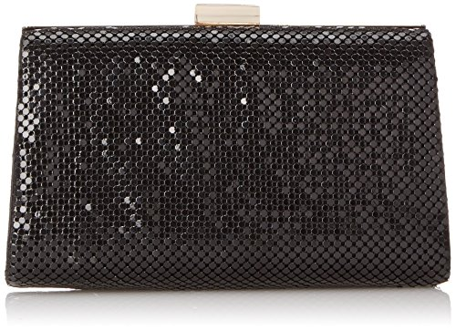 La Regale Rectangular Frame Chainmail Clutch, Black, One Size