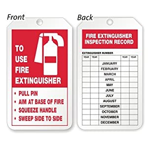 Fire extinguisher inspection record tag 10 pt pf cardstock for Fire extinguisher inspection tag template