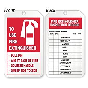 Amazon.com : Fire Extinguisher Inspection Record Tag 15 pt