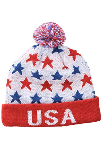 USA Beanie wth Red Cuff by Tipsy Elves - One Size