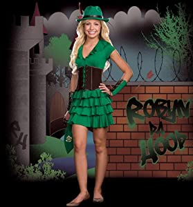 teen costume robyn da hood extra small product description green ruffle hem. Black Bedroom Furniture Sets. Home Design Ideas