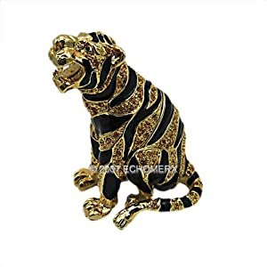 Tiger Jewelry Trinket Box Gold Jeweled