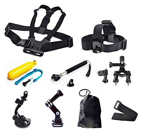 SynkTech® 9-in-1 Accessories Kits for GoPro Hero 2 Hero3 Hero3+Hero 4 Cameras and Xiaomi Xiaoyi Sports Action Camera Camcorder,Chest Strap Mount + Adjustable Head Strap + Floating Handle Grip + Handlebar Seatpost Mount + Car Suction Cup Mount Holder + Extendable Handheld Monopod Stick + Tripod Adapter + Jhook Buckle