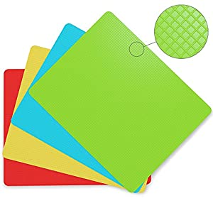 "Extra Thick Flexible Plastic Cutting Board Mats With Food Icons & ""EZ-Grip"" Gripped Back(Set Of 4) by Cooler Kitchen"
