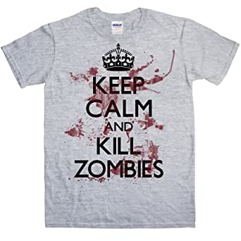 Refugeek Tees - Hommes Keep Calm And Kill Zombies T Shirt - Small - Sport Grey