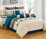 9 Piece Queen Selene Teal and Beige Comforter Set
