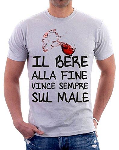 t-shirt bere vino frase simpatica il bere vince sempre uomo donna S M L XL XXL maglietta by tshirteria