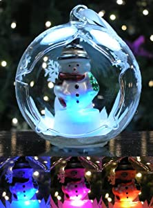 Snowman Christmas Ornament LED Color Changing