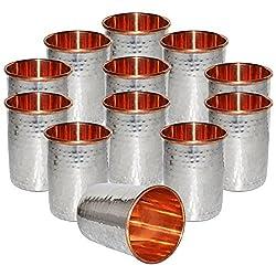 DakshCraft Handmade Drinking Stainless Steel Inside Copper Glass, Set of 12