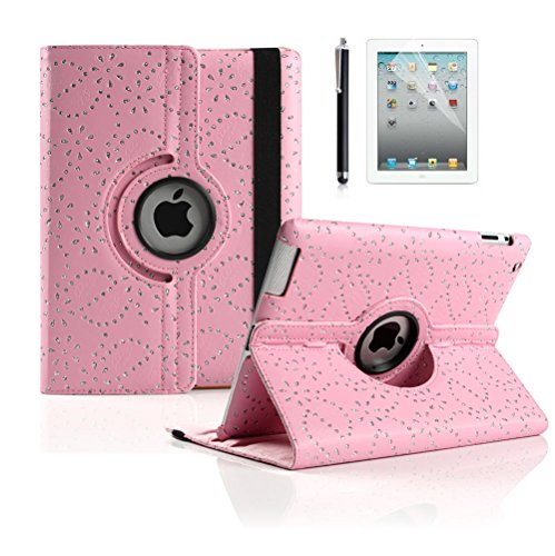 Ipad 4 Case, Ipad 3 Case, Ipad 2 Case, Boriyuan Luxury Crystal Diamond Bling Flower Ultra Slim Portable 360 Degree Rotating Protective Flip Folio Pu Leather Case Cover For Apple Ipad 2 3 4 Generation, With Elastic Hand Strap Multi-Angle View Stand Holder