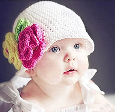 Demarkt Toddler Girl Baby Handmade Knit Crochet flowers Hat Cap
