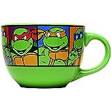 Silver Buffalo NT8424 Teenage Mutant Ninja Turtles Characters Grid Ceramic Soup Mug, 24 oz, Green