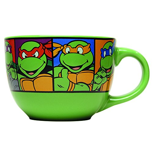 Silver Buffalo NT8424 Teenage Mutant Ninja Turtles Characters Grid Ceramic Soup Mug, 24 oz, Green (Ninja Turtle Coffee Mug compare prices)