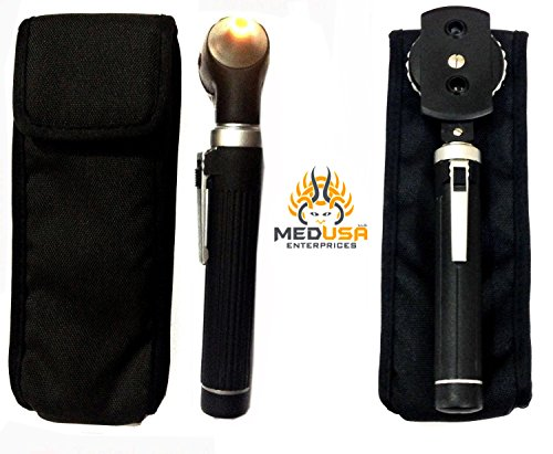 Professional Physician Mini Pocket Fiber Optic Otoscopes & Ophthalmoscope Set Black