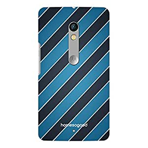 HomeSoGood Horizontal Stripes Pattern Blue 3D Mobile Case For Moto X Play (Back Cover)