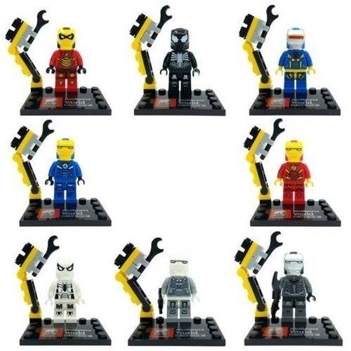 [Iron man costumes Flash/Black Spider-Man/Cycorp building blocks brick compatible 8 pcs /Set 4.5 cm.] (Jessica Jones Marvel Costume)